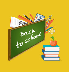 Banner back to school with books and apple vector