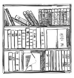 Books background book shelves sketch vector