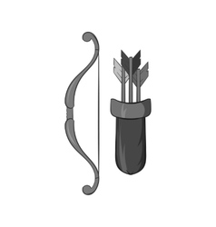 Bow and arrow icon black monochrome style vector image