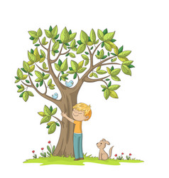 Boy hugs a tree vector