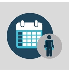 Business silhouette man calendar planning vector