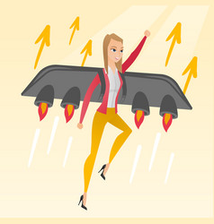 Business woman flying on the rocket to success vector