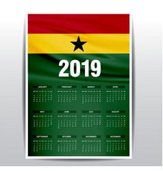 Calendar 2019 ghana flag background english vector