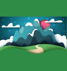 cartoon paper landscape mountain vector image
