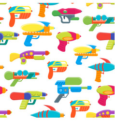 cartoon toy water guns background pattern vector image