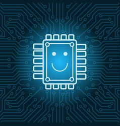 chip with smiling face icon over blue circuit vector image
