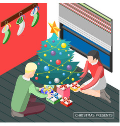 christmas presents isometric background vector image