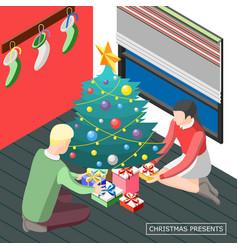 christmas presents isometric background vector image