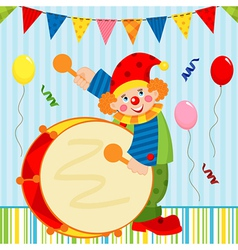 Clown playing the drum vector