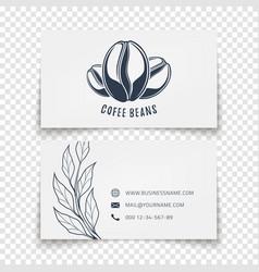 Coffee beans logo design busies card template vector