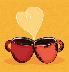 coffee cups with heart love vector image