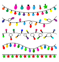 colorful pack of flat christmas lights vector image