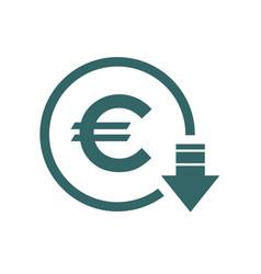 Cost reduction- decrease euro icon symbol image vector