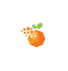 creative digital pixel orange fruit logo design vector image