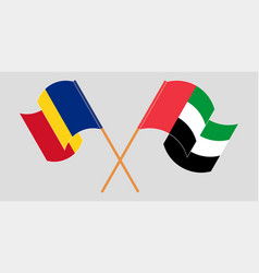 Crossed and waving flags romania and united vector