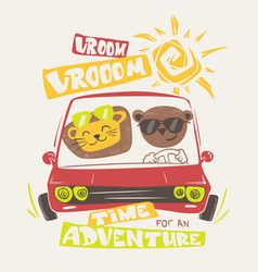 Cute animals driving print design for apparel vector