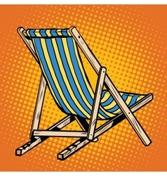 deck chair striped blue beach lounger vector image