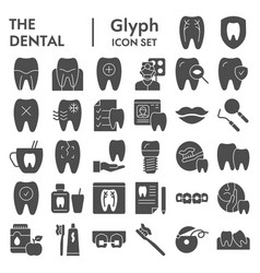 dental glyph icon set dentistry equipment symbols vector image