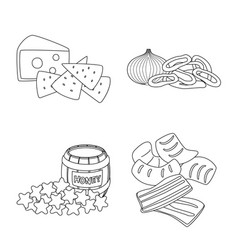 Design of taste and crunchy icon set of vector