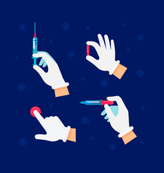 doctor nurse is holding syringes and vials vector image