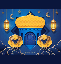 eid al-adha card with mosque and sheeps crescent vector image