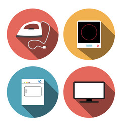 Electric stove iron incubators and tv icons vector