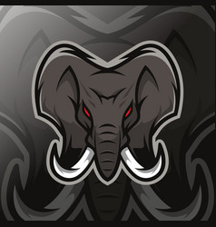 elephant mascot logo esport vector image