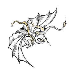 fancy fabulous flying dragon black white vector image