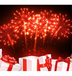 Festive firework background with gifts vector