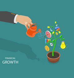 Financial growth flat isometric concept vector