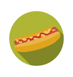Flat Design Concept Hot Dog With Long Shadow vector