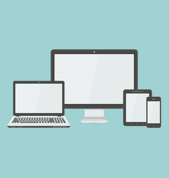 Flat modern devices mockup vector