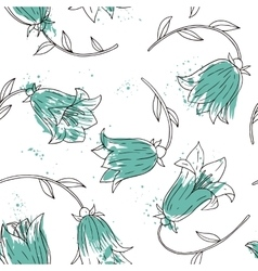 floral seamless pattern with bell flowers vector image
