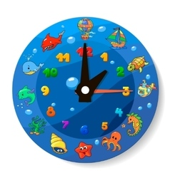 Funny cartoon clock for kids vector