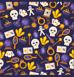 game magic icons in seamless pattern vector image