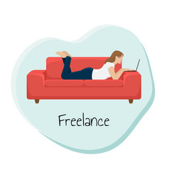 Girl works at the laptop lying on the couch vector