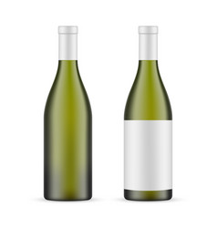 Green glass wine bottle with label blank mockup vector