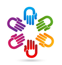 group of hands coming together icon vector image