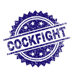 Grunge textured cockfight stamp seal vector