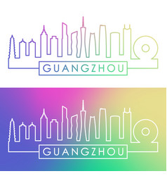 guangzhou skyline colorful linear style editable vector image