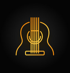guitar outline yellow icon on dark vector image