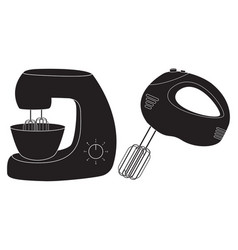 Hand mixer and stand mixer icons vector