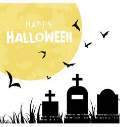happy halloween bats grave full moon background ve vector image