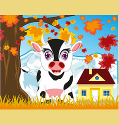 home animal cow by autumn on nature vector image