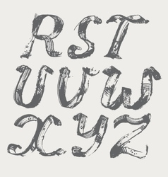 Ink alphabet R to Z freehand stylish in raster vector image