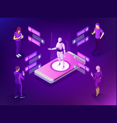 isometric artificial intelligence ai and business vector image