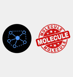 links icon and scratched molecule stamp vector image