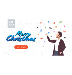 man celebrating merry christmas happy new year vector image