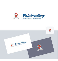 map location logotype with business card template vector image