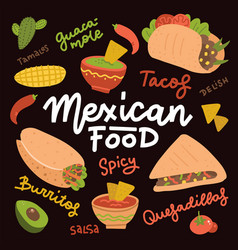 mexican food set with traditional spicy dish vector image